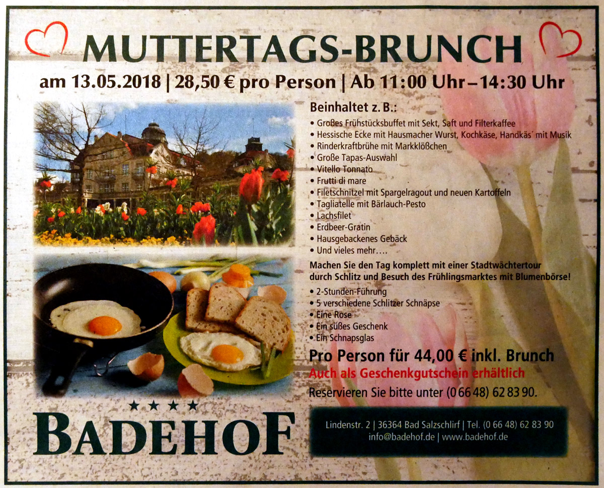 Muttertags-Brunch - Badehof-Stadtwächter